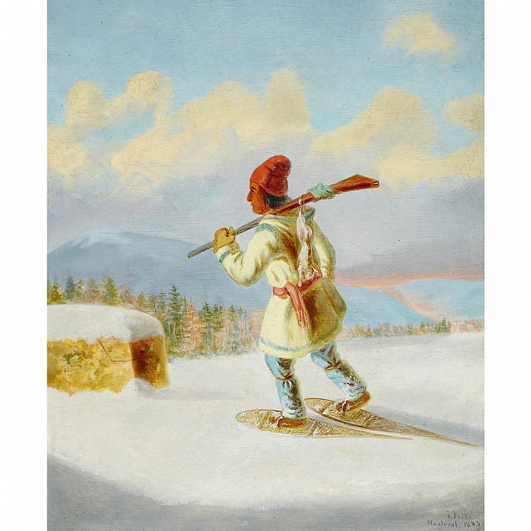 GEORGE HART HUGHESINDIAN HUNTER ON SNOWSHOES, oil on board; signed with initials and inscribed