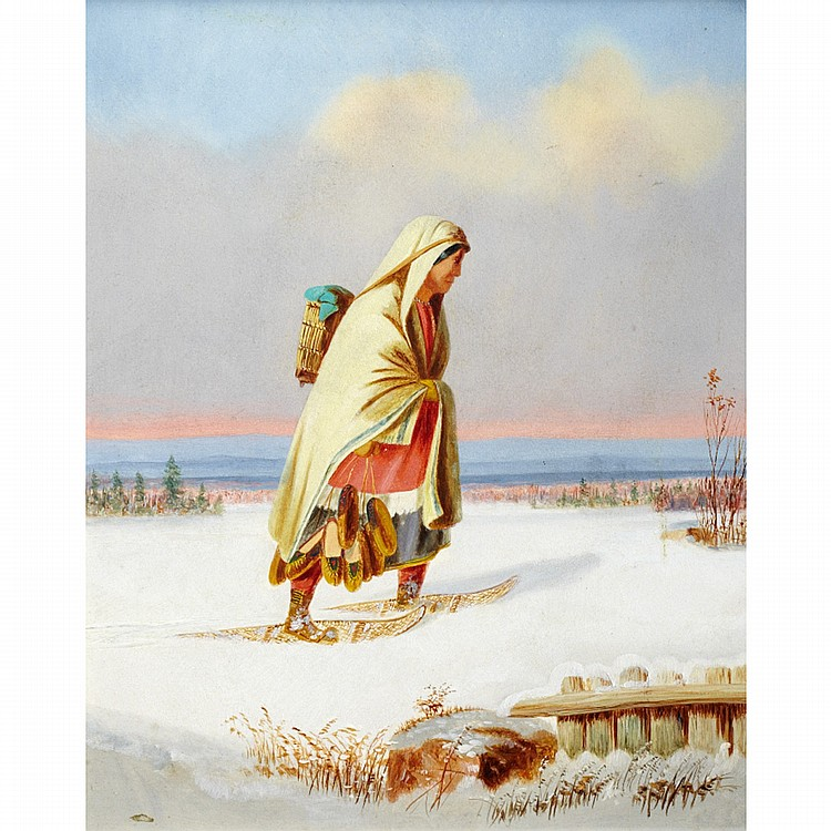 GEORGE HART HUGHESINDIAN MOCCASIN SELLER, oil on board 11 ins x 9 ins; 27.5 cms x 22.5 cms  Provenance: Walter Klinkhoff Gallery, Montreal.Private Collection, Toronto.