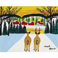 MAUD LEWISDEER IN WINTER, oil on board; signed 11.25 ins x 14 ins; 28.1 cms x 35 cms Note: Purchased from Maud Lewis by the family of the consignor, the original owner of the painting is photographed conversing with the artist, steps away from Lewis'
