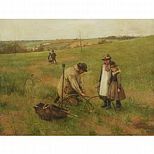 """John Macallan Swan (1847-1910), THE MOLE CATCHER, 1881, Oil on canvas; signed """"J. Mac Swan"""" and dated 1881 lower left, titled to the nameplate, 27.5"""