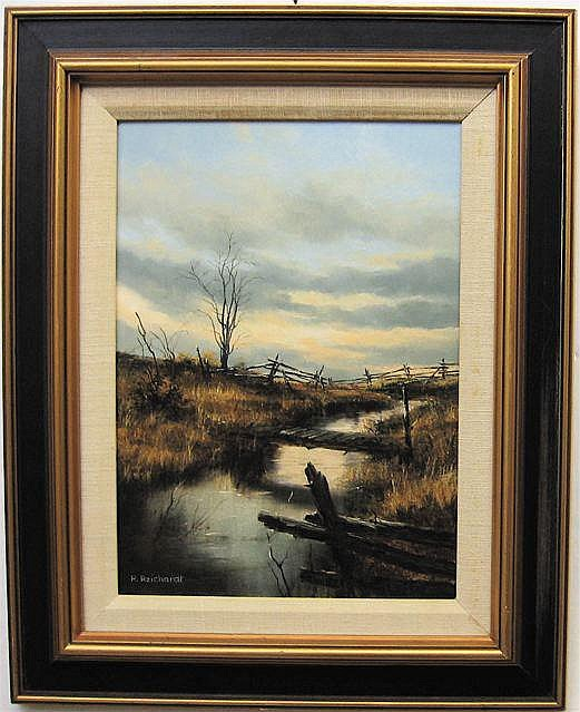 RUDI REICHARDT (CANADIAN, 1929-) STILL SUNSET; OIL