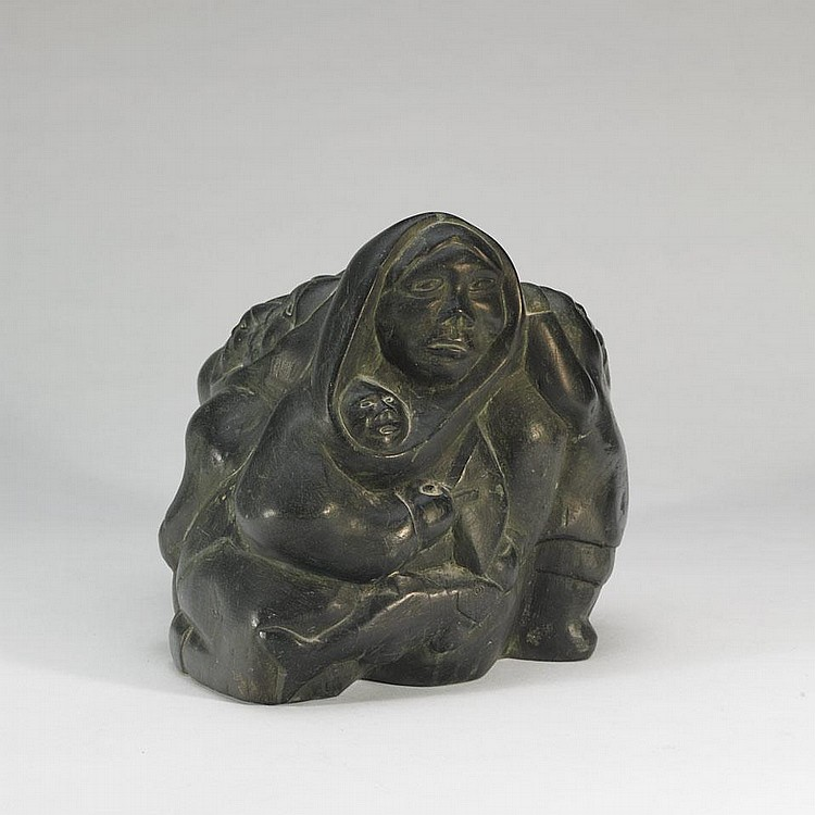 THOMAS SIVURAQ (1941-), INUIT FAMILY, stone, 11