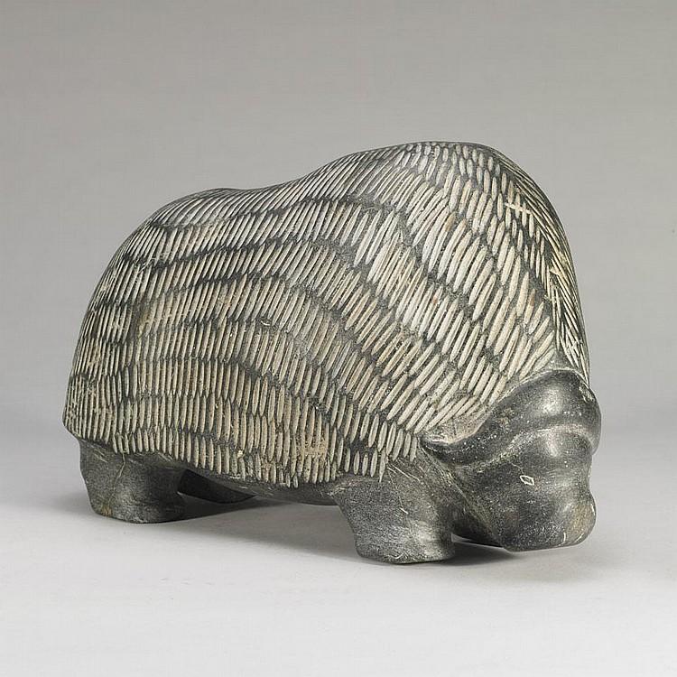 BARNABUS ARNASUNGAAQ (1924-), MUSK OX, stone, 10