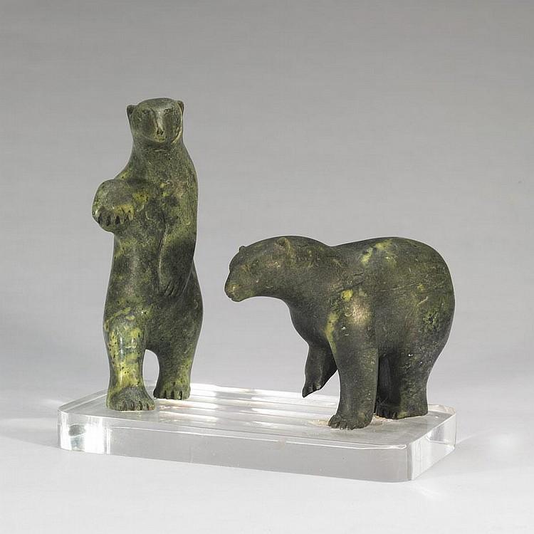 MANNUMI SHAQU (1917-2000), TWO POLAR BEARS, stone, 10