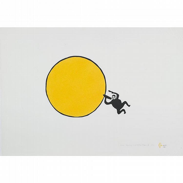 LUKE ANGUHADLUQ (1895-1982), DRUM DANCING, stonecut (unframed), 22