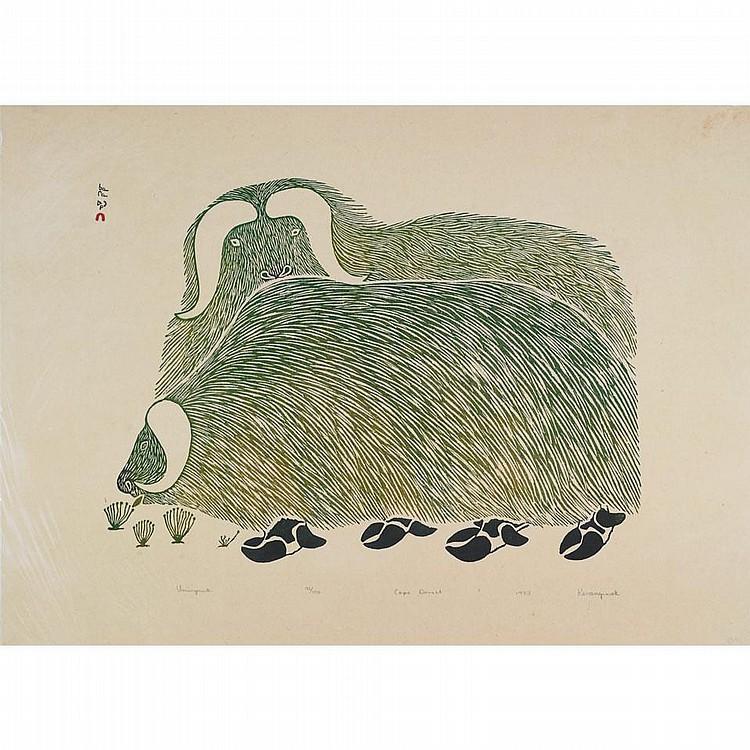 KANANGINAK POOTOOGOOK (1935-2010), UMINGMUK, stonecut (unframed), 24.75