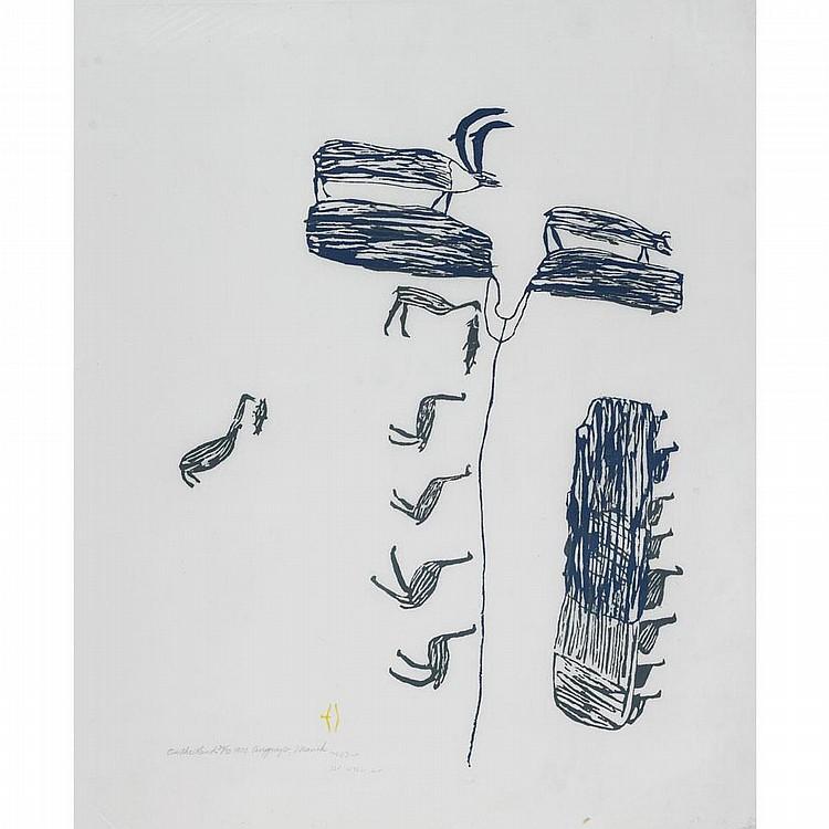 LUKE ANGUHADLUQ (1895-1982), ON THE LAND, stonecut (unframed), 25