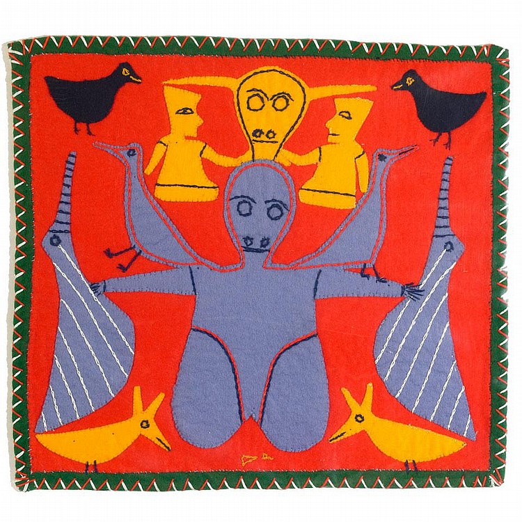 JESSIE OONARK (1906-1985), UNTITLED (SHAMAN, FIGURES AND BIRDS), stroud, felt, thread, embroidery floss, 12