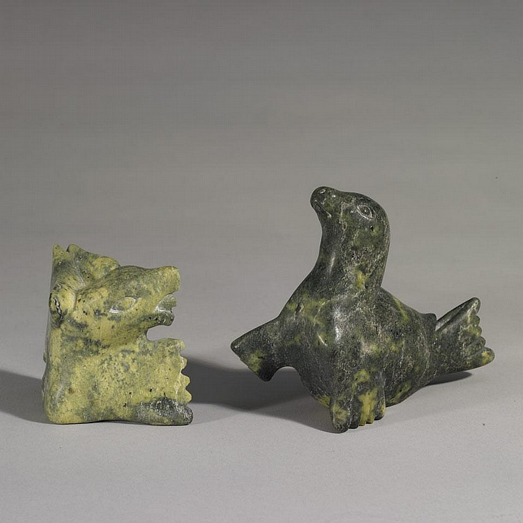 JOANASSIE IGIU (1923-1981), SEAL; BIRD TRANSFORMATION, stone, 4.5