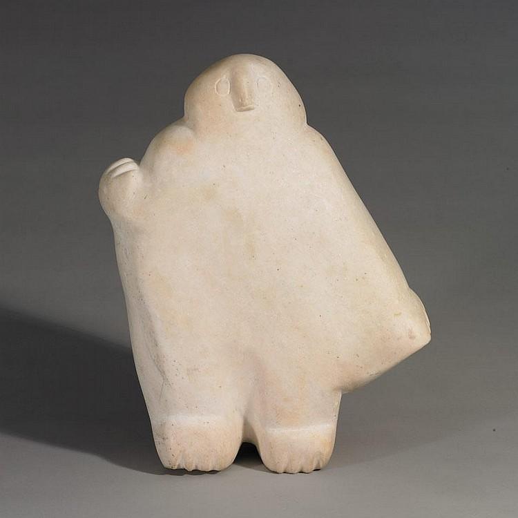 LATCHOLASSIE AKESUK (1919-2000), OWL, stone, 15