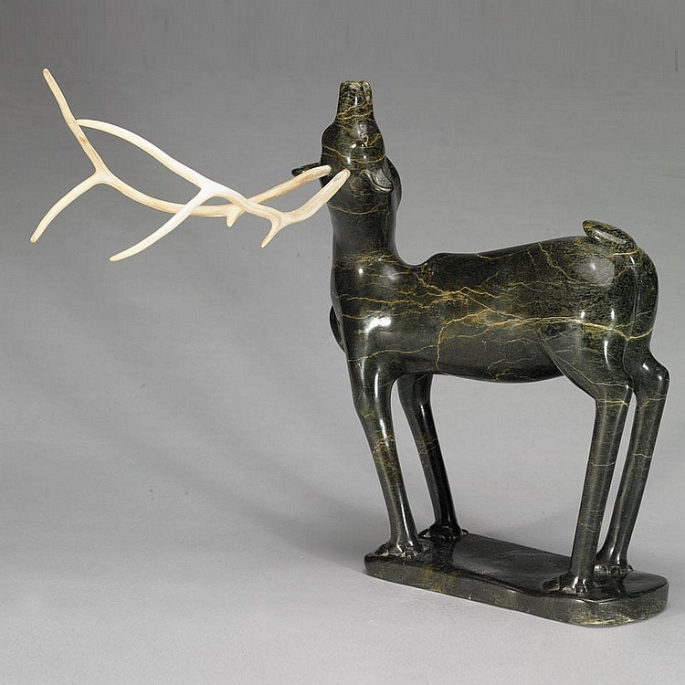SHORTY KILLIKTEE (1949-), CARIBOU, stone, antler, 19.5