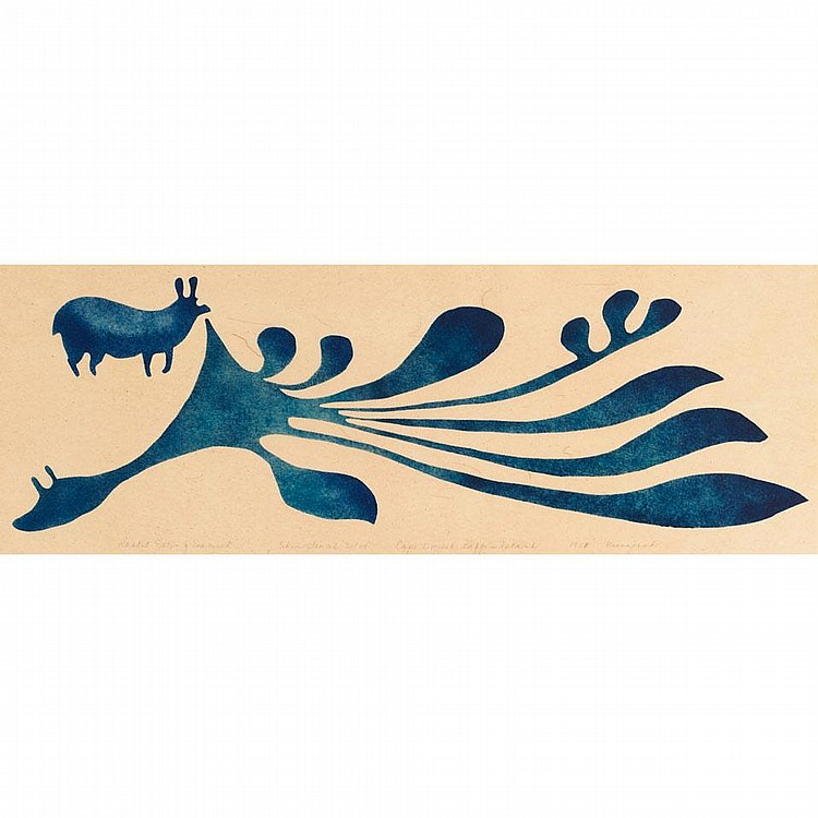 KENOJUAK ASHEVAK (1927-), RABBIT EATING SEAWEED, skin stencil (unframed), 9