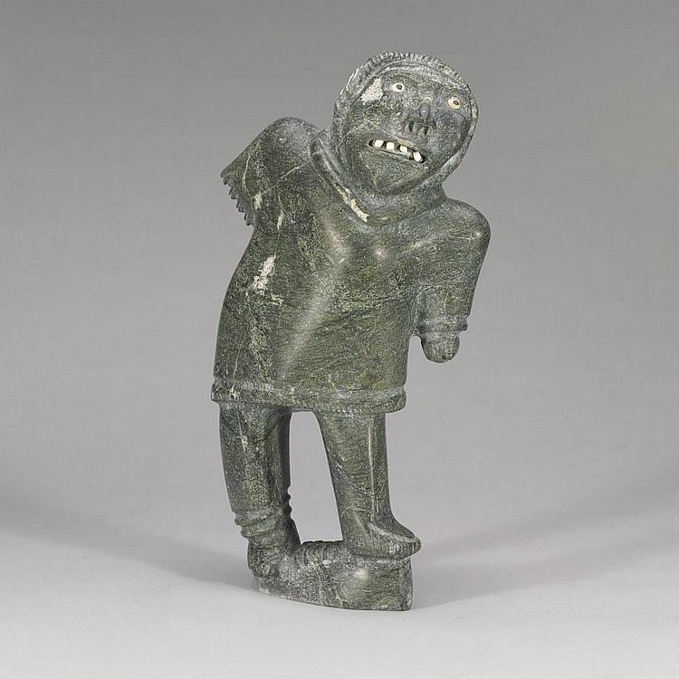 SAMUEL NAHAULAITUQ (1923-), SHAMAN, stone, 17.25