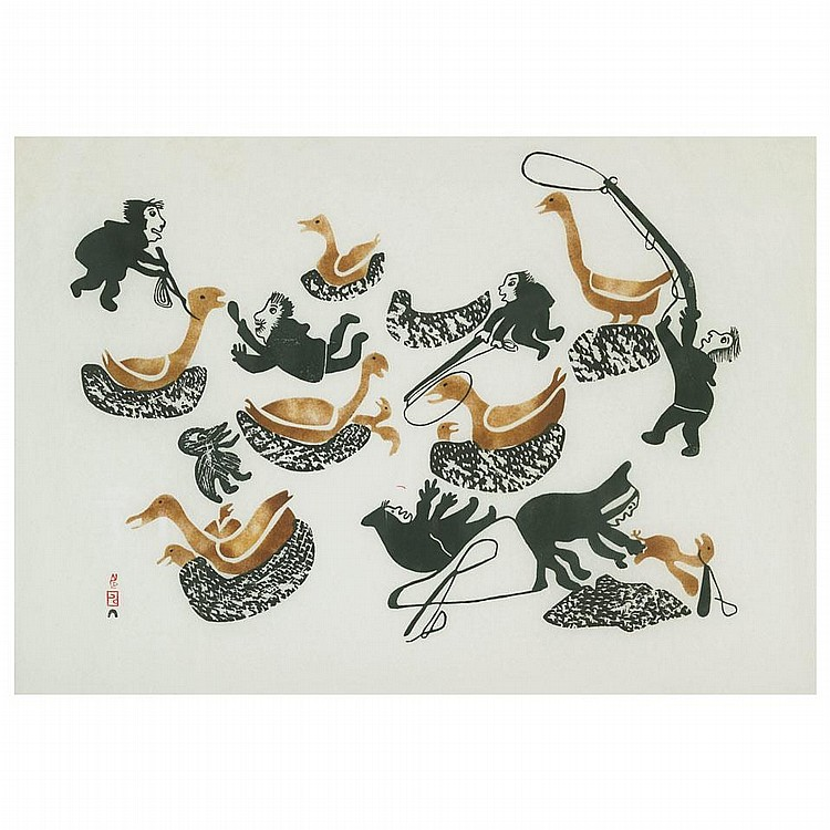 PITSEOLAK ASHOONA (1904-1983), CHASING THE GEESE, stonecut and stencil (framed), 20.5