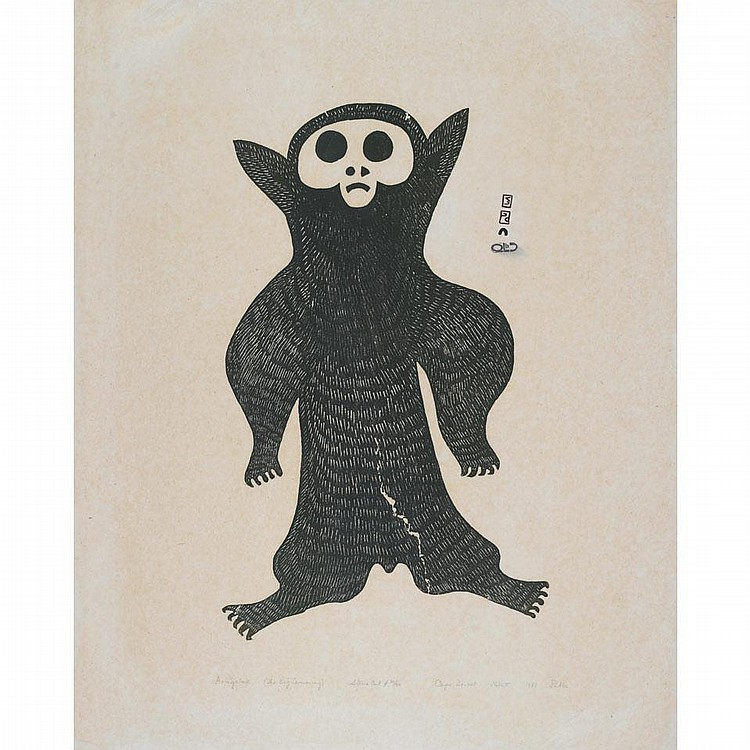 PUDLO PUDLAT (1916-1992), AVINGALUK (THE BIG LEMMING), stonecut (unframed), 30