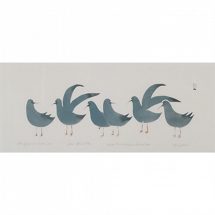 KELLYPALIK MANGITAK (1940-), SEA GULLS ON ARCTIC ICE, skin stencil (framed), 10