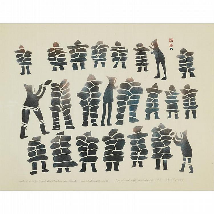KIAKSHUK (1886-1966), STONE IMAGES MARK THE WESTERN SEA ROUTE, sealskin stencil (framed), 17.5