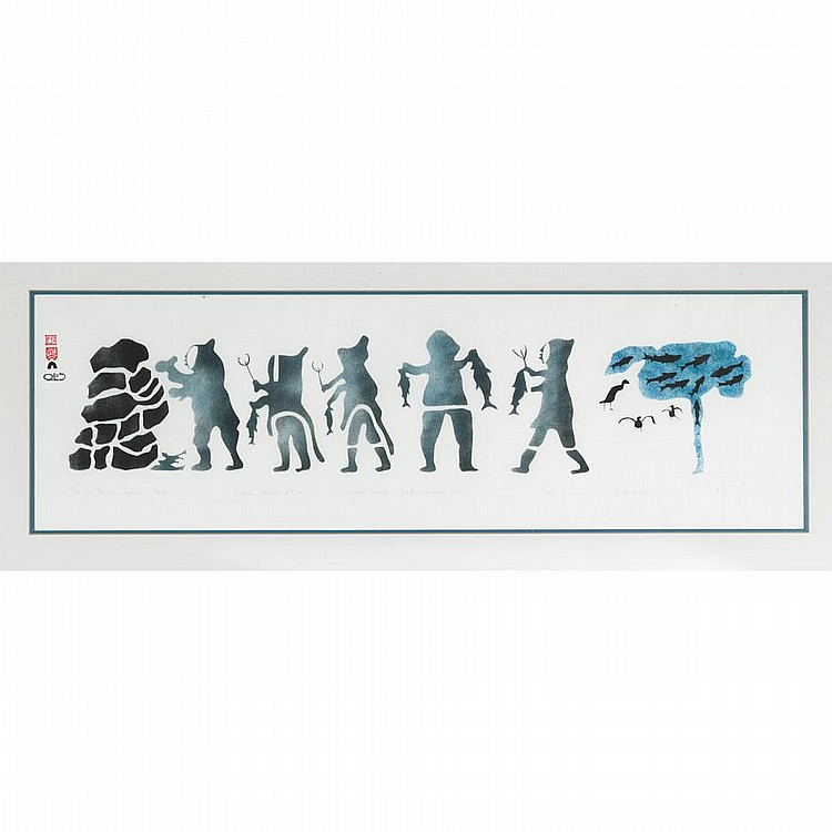 KIAKSHUK (1886-1966), ESKIMO FAMILY CACHING FISH, sealskin stencil (framed), 10.75