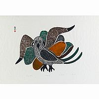 "KELLYPALIK MANGITAK (1940-), E7-999, Cape DorsetSUMMER BIRD, stonecut, 1970, 8/50, unframed, 24"" x 33.6"" - 61 x 85.3 cm."