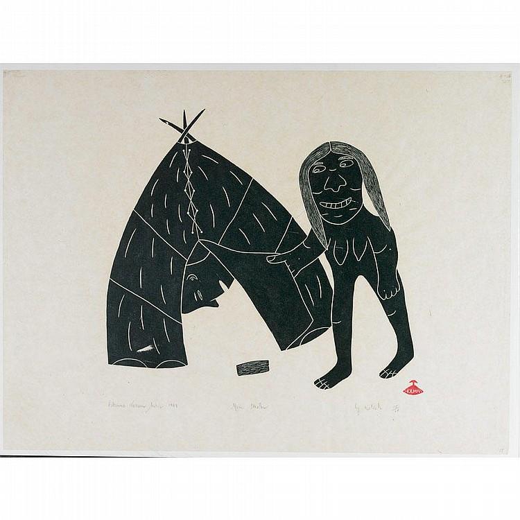 HELEN KALVAK, Holman MAN STEALER, stonecut, 1969,
