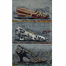 JACQUES PAYETTE, TROIS AUTRES SOULIER, encaustic on canvas mounted to board, 48 ins x 29 ins; 121.9 cms x 73.7 cms