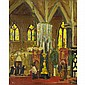 JOHN YOUNG JOHNSTONE, A.R.C.A., INTERIOR OF A CATHEDRAL, oil on board, 9.5 ins x 7.5 ins; 23.8 cms x 18.8 cms