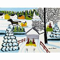 MAUD LEWIS, CARRIAGE RIDE THROUGH TOWN, WINTER, oil on board, 12 ins x 15.75 ins; 30 cms x 39.4 cms