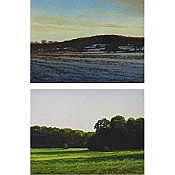 """THOMAS G. McNICKLE (AMERICAN, 1944-), SUN SETTING BELOW ELDERS HILL; SUMMER PASTURES, PAIR OF WATERCOLOURS; EACH SIGNED; ALSO SIGNED, TITLED AND DATED '95 VERSO (Each sight, 6"""" x 8"""")"""