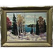 "WILLIAM GARDNER BLACKWOOD (CANADIAN, 1890-?), NOVEMBER SNOW, MUSKOKA, OIL ON BOARD; SIGNED LOWER LEFT; SIGNED AND TITLED TO ARTIST LABEL VERSO, 16"" x 22"" — 40.6 x 55.9 cm."