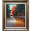 NORMAN RICHARD BROWN (CANADIAN, 1958-), AUTUMN WALK (HALIBURTON, ONT.), OIL ON  MASONITE; SIGNED LOWER RIGHT; SIGNED, TITLED AND DATED '95 VERSO, 26.8