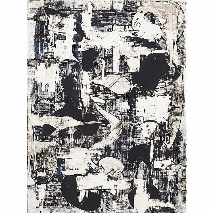 "Charles Arnoldi (1946-), UNTITLED (90.MP.28), 1990, Colour monoprint with collage and embossing on handmade paper; signed and dated ""Arnoldi 1990"" in pencil lower left, titled and dated to gallery label verso, Sheet 31"