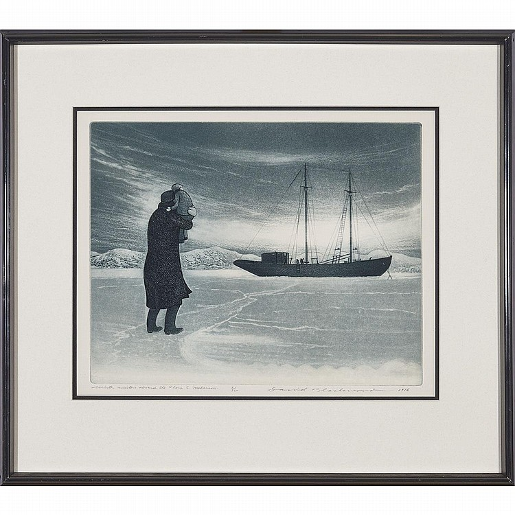 David Lloyd Blackwood (1941- ), WINTER VISITORS ABOARD THE FLORA S. NICKERSON, 1976, Colour etching and aquatint; signed, titled, dated 1976 and numbered 21/35 in pencil to margin, Plate 10.8