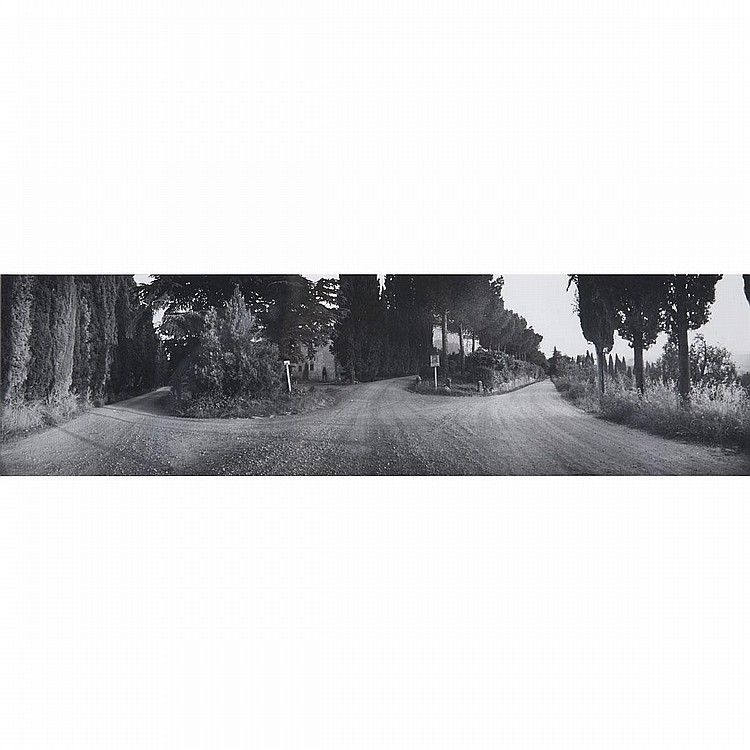 "Geoffrey James (1942- ), THE LAST DWARF; ROAD BY THE COAST; NEAR SAN GIMIGNANO, Three gelatin silver prints; the first, signed and dated 1970 at ""Forte dei Marni, Italy"" in pencil verso, titled with artist's dedication: ""For Chris"" in pen"