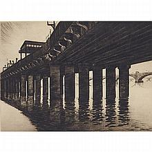 "Sybil Andrews (1898-1992), ""CANON (SIC) STREET - RAILWAY BRIDGE"", (LONDON), CIRCA 1924-9, Etching and drypoint on wove paper with laid lines; signed ""Sybil Andrews del et imp"", titled ""Canon Street-Railway Bridge"" and numbered 21/25 in"