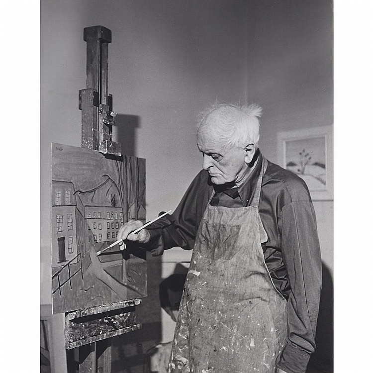Tim Du Vernet (20th century), PORTRAIT OF CANADIAN ARTIST BARKER FAIRLEY (1887-1986), Gelatin silver print mounted, Sheet/Overall 19.8