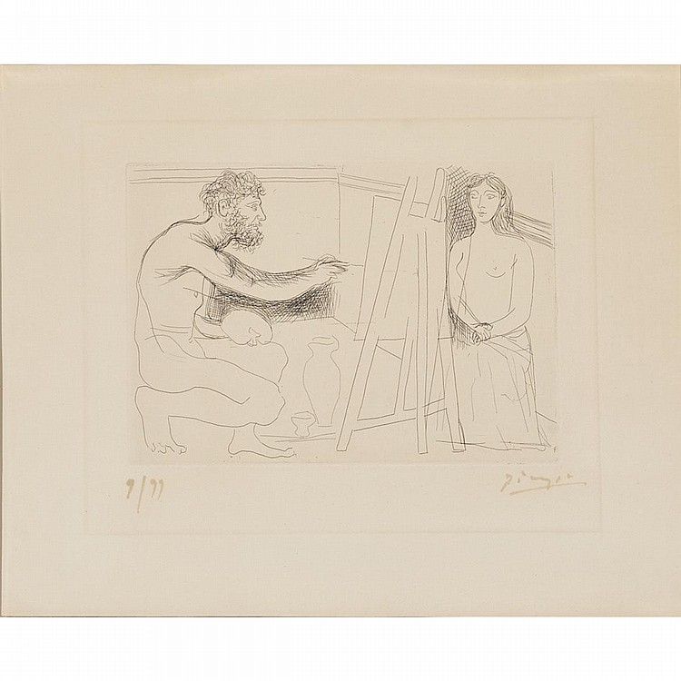Pablo Picasso (1881-1973), PEINTRE DEVANT SON CHEVALET (PL. 12 FROM LE CHEF D'OEUVRE INCONNU), 1927 [BLOCH, 93], Etching on heavy wove Van Gelder watermarked paper; signed and numbered 9/99 in red/brownish ink (faded) to margin. Published by