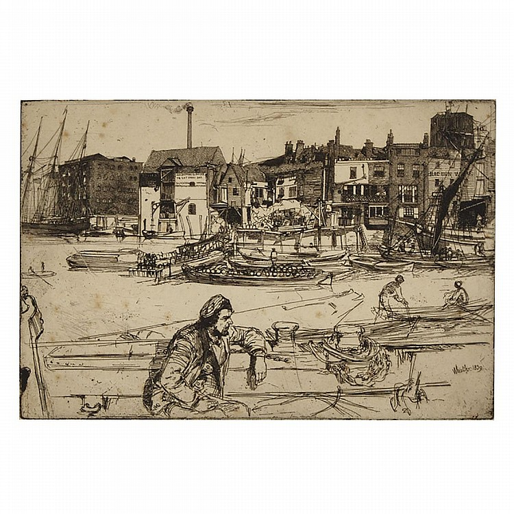 "James Abbott McNeill Whistler (1834-1903), BLACK LION WHARF, 1859 [KENNEDY, 42; GLASGOW, 54], Etching in laid paper; signed and dated 1859 in the plate lower right, titled and further inscribed ""K. 42 II of 3 states"" in pencil to the matboard recto"