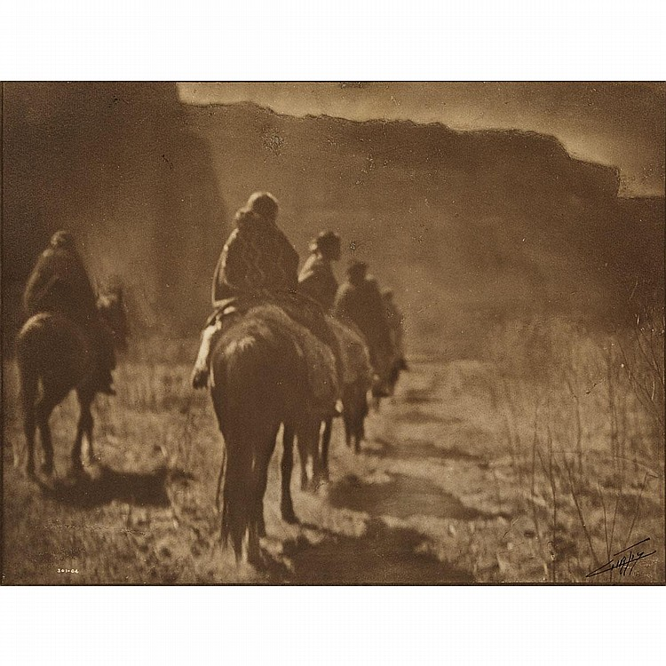 Edward Sheriff Curtis (1868-1952), THE VANISHING RACE, 1904, Orotone; blind stamped lower left, with negative number: