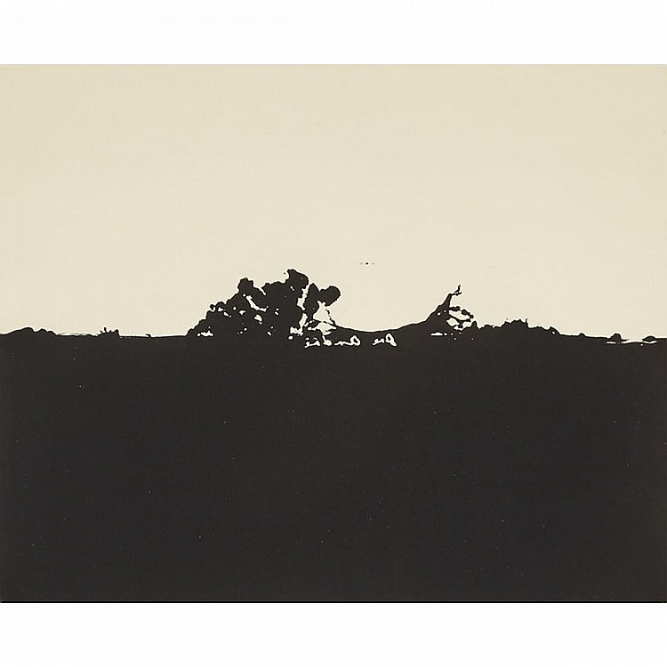 "Joe Andoe (1955-), UNTITLED (FOUR PLATES FROM ""SUITE OF FIVE""), 1990, Four etchings with aquatint with tone on wove paper; each signed in reverse in the plate, each signed, dated 90 and numbered 14/50 in pencil to margins, Each Plate/Sheet 10"