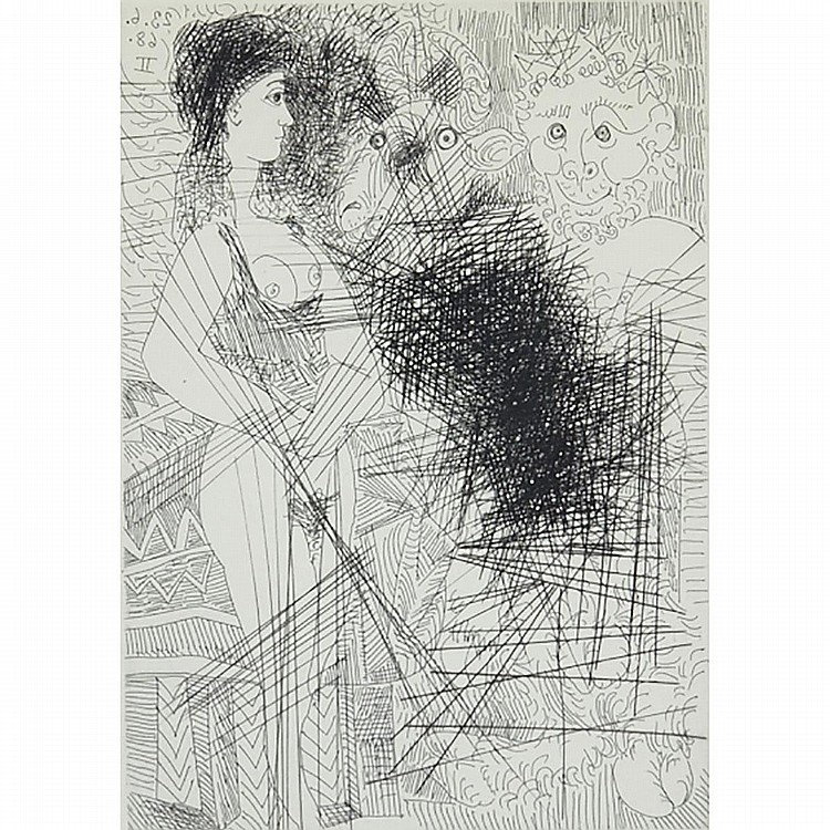 Pablo Picasso (1881-1973), JEUNE FEMME EN LIQUETTE, FAUNE ET TETE DE BOUC (FROM SERIES 347), 1968/1969 [BLOCH, 1662], Etching and drypoint; signed and numbered 24/50 in pencil to margin. Published by Galerie L. Leiris, Paris., Plate 8