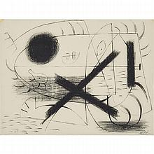 "Joan Miro (1893-1983), LITHOGRAPH 1, 1930 [MOURLOT, 1], Lithograph on chine paper printed to the edges; signed and numbered 7/8 in pencil, inscribed ""Miro"" and titled ""Lune et Croix"" to the paper label attached to the verso backing. Aside"