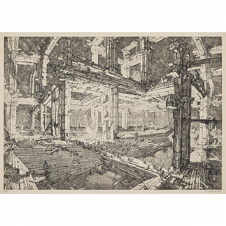 Erik Desmazieres (1948- ), THREE ETCHINGS: LE FEU, 1973; L'ECROULEMENT, 1975; LA TOUR DE BABEL, 1976 [FITCH-FEBVREL 8, 16 & 21], The first, etching; signed, dated 1973 and numbered 79/90 in pencil to margin. Printed by Atelier Georges Leblanc,