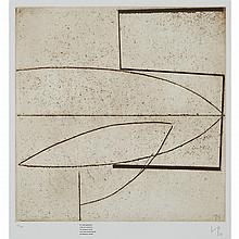 Victor Pasmore (1908-1998), BY WHAT GEOMETRY MUST WE CONSTRUCT THE PHYSICAL WORD? (FROM WORD AND IMAGE), 1974 [BOWNESS & LAMBERTINE, 39 (C)], Etching and aquatint in brown with additional screenprinted text on White Ink Limited blindstamped paper;
