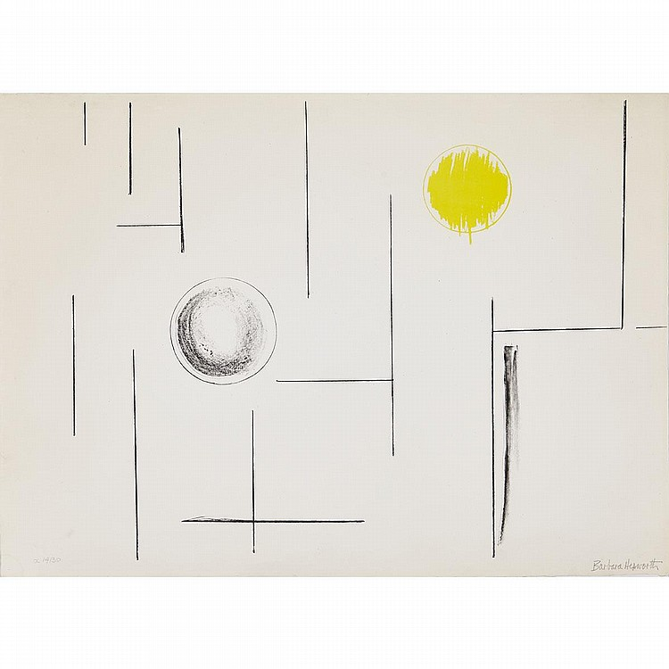 Dame Barbara Hepworth (1903-1975), SEA FORMS, 1969, Lithograph printed in black and yellow with embossing on wove paper; signed and numbered X 14/30 (overseas edition) in pencil (aside from the edition of 60). Published by Curwen Studio, London with
