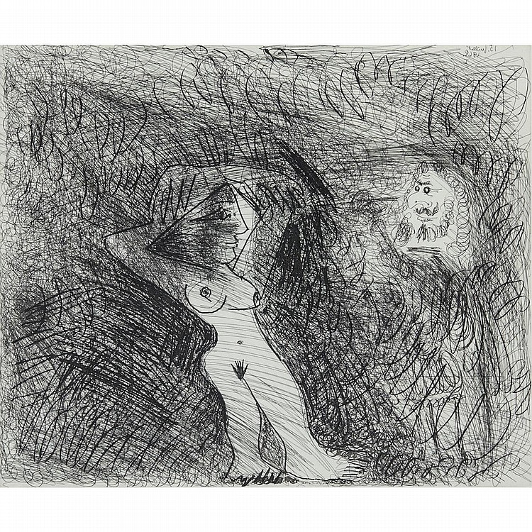 Pablo Picasso  (1881-1973), PEINTRE PEIGNANT SUR SON MODELE (PL. 204 FROM SERIES 347), 1968 [BLOCH, 1684], Etching; signed and numbered 45/50 in pencil to margin. Published by Galerie L. Leiris, Paris., Plate 16