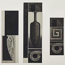 Kenneth A. Webb (1950- ), TOTEM (A TRIPTYCH), 1989, Three etchings en grisaille; each plate signed and numbered 22/25 in white pencil to margins, the central image, also titled in white pencil, dated 1989 to gallery label verso. Each tipped onto a