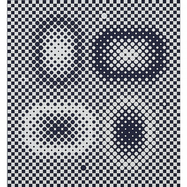 Victor Vasarely (1906-1997), ME-TA (FROM BACH), 1973, Black and white colour silkscreen with grey colour border on paper; signed, titled and numbered 181/200 in black ink to margin, titled and dated 1973 to gallery label verso, Sheet Sight 29.5