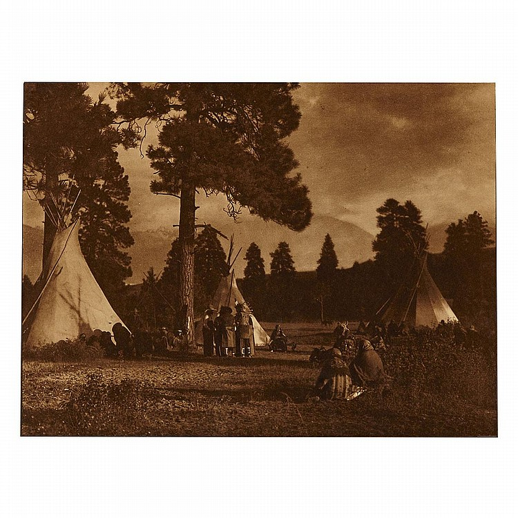 Edward Sheriff Curtis (1868-1952), FLATHEAD CAMP ON THE JOCKO RIVER (FROM THE NORTH AMERICAN INDIAN, VOL. 7, PLATE 232), 1910, Orotone; signed and annotated