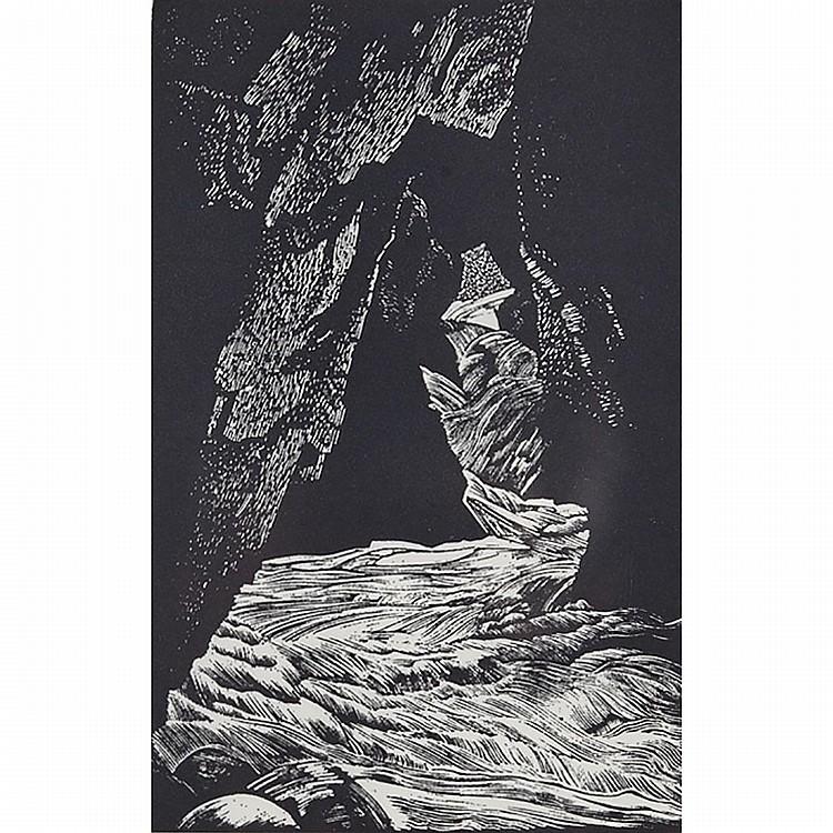 Walter Joseph Phillips (1884-1963), SNAKE ISLAND, LAKE WINNIPEG (FROM TEN WOODCUTS), 1931 [BOULET, 157]; WATERFALL, LAKE OF THE WOODS, 1934 [BOULET, 205]; THE SOURCE OF THE BOW, LAKE OF THE WOODS, 1936 [BOULET, 217], Three wood engravings on Japon