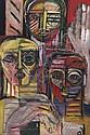 Patrick Boudon (1944-, French LES TROIS AMIS; Oil, Patrick Boudon, Click for value